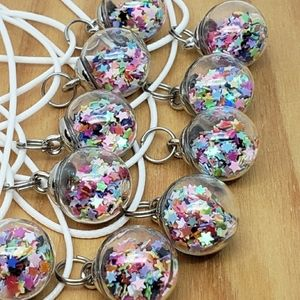 STAR GLITTER BALL Necklaces Set of 10 Party Favors